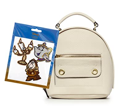 221db3d2bca Amazon.com  Danielle Nicole White Mini Disney Backpack with Beauty and the  Beast Adhesive Patches-Stickers  Shoes
