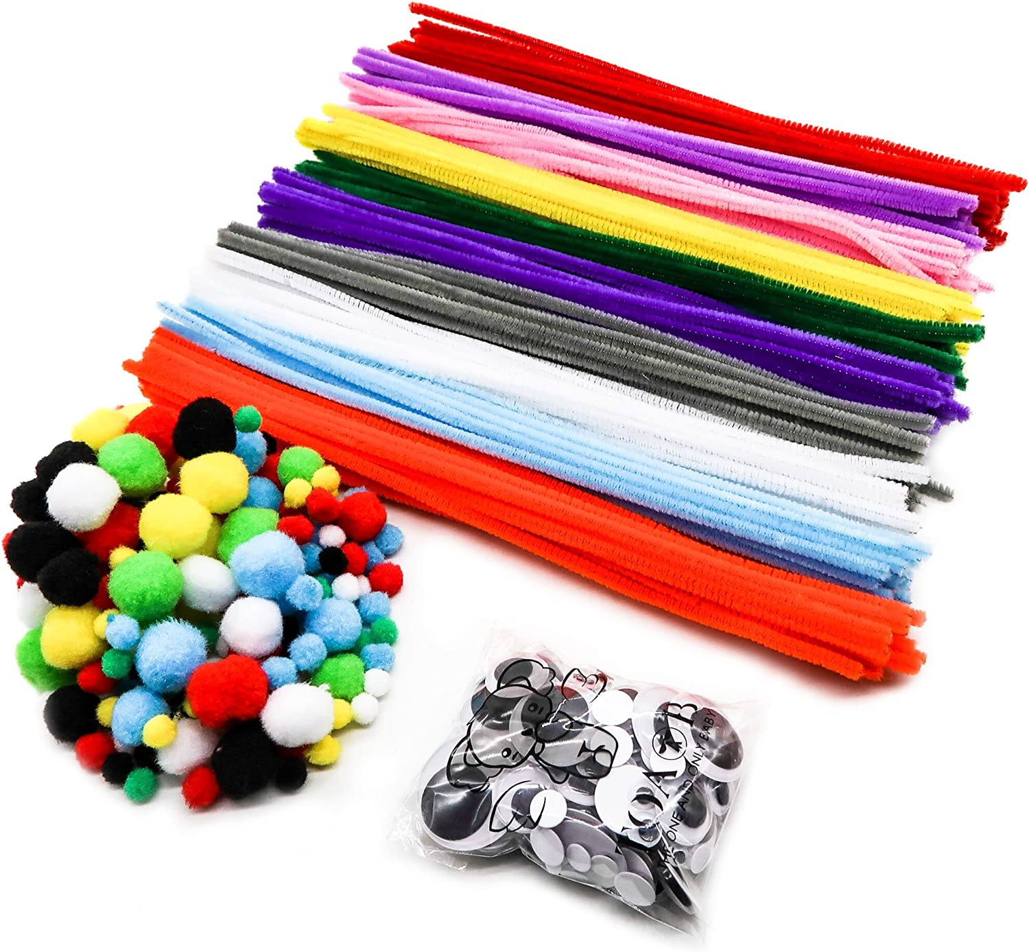 500Pcs Pipe Cleaners Craft Set,Including 100 Pcs Chenille Stems 250 Pcs Pom Poms Craft 150 Pcs Wiggle Googly Eyes Self Adhesive,Assorted Colors and Assorted Sizes for DIY Art Craft