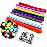 TOAOB 200 Rainbow Pompoms 200 Pipe Cleaners 100 Self-sticking Googly Eyes DIY Art Supplies for Children's Craft Projects Paper Crafts Holiday Crafts Kit