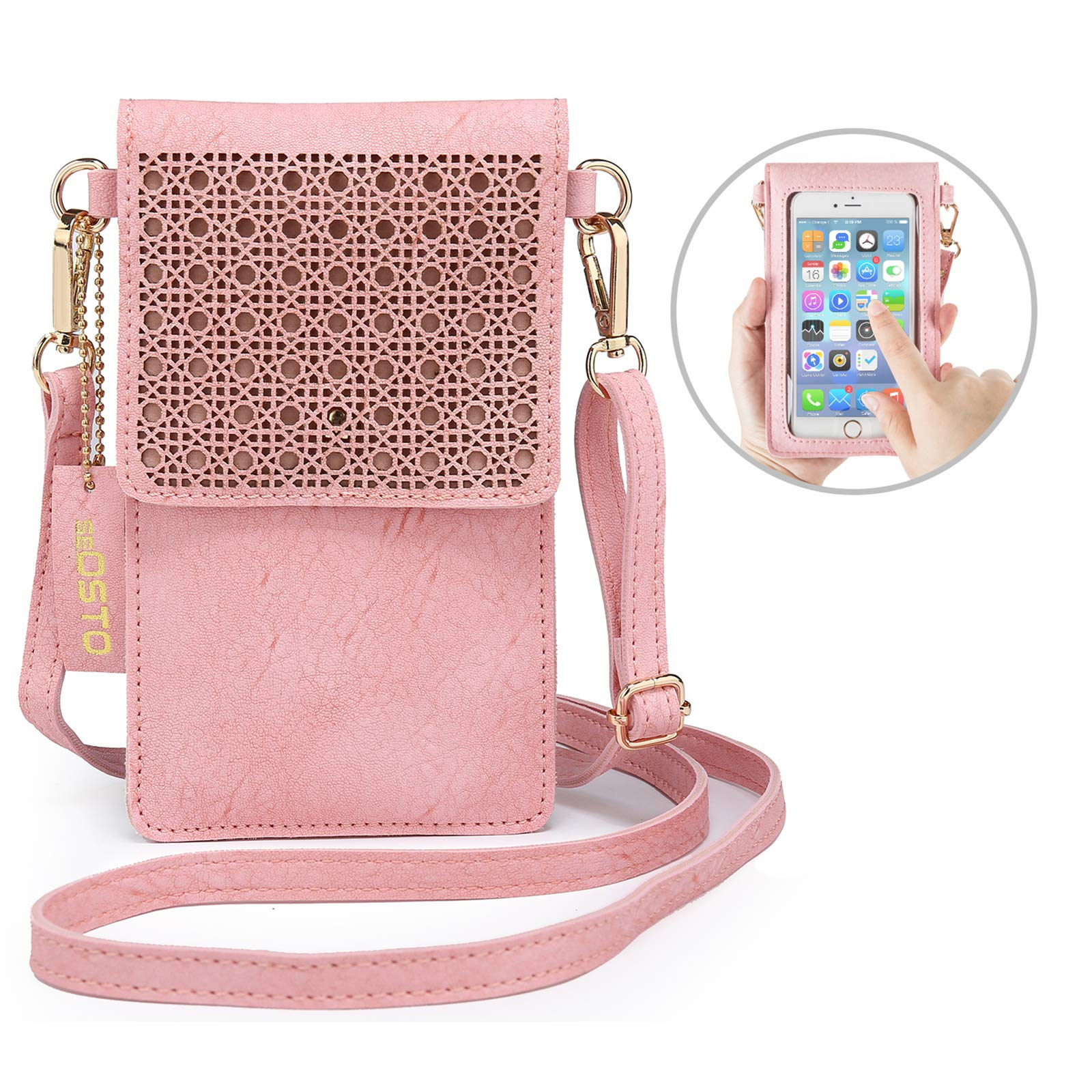 seOSTO Small Crossbody Bag, Cell Phone Purse Smartphone Wallet with 2 Shoulder Strap Handbag for Women (pink)
