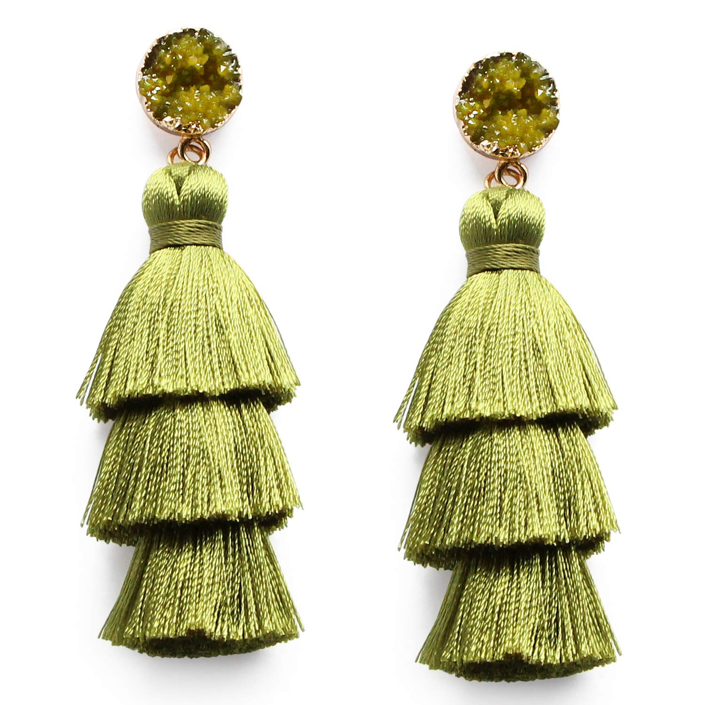 Me&Hz Olive Green Tassel Dangle Drop Earrings 3 Layer Tiered Thread Army Green Tassel Fringe Boho Earrings Handmade Bohemian Jewelry