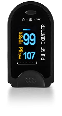 AccuMed CMS-50D Finger Pulse Oximeter Blood Oxygen Sensor SpO2 for Sports and Aviation. Portable and Lightweight with LED Display, 2 AAA Batteries, Lanyard and Travel Case Black