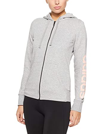 adidas Damen Essentials Linear Full Zip Hooded Kapuzen-Jacke, Grey  Heather Haze Coral f89f7775f2