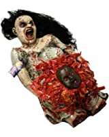 Halloween Haunters Life-Size Animated Pregnant Woman Zombie Torso with Demon Baby Prop Decoration - Animatronic Rubber Latex Scary Pulsating Baby - AC & Battery Operated