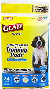 Glad for Pets Heavy Duty Ultra-Absorbent Activated Charcoal Puppy Pads with Leak-Proof edges   Black Pad with No Ugly Yellow Spots   Perfect for Training New Puppies