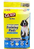 Glad For Pets Ultra-Absorbent Activated Carbon Training Pads With Folded Edges, 24 Count   Best Pee Pads For All Dogs and Puppies
