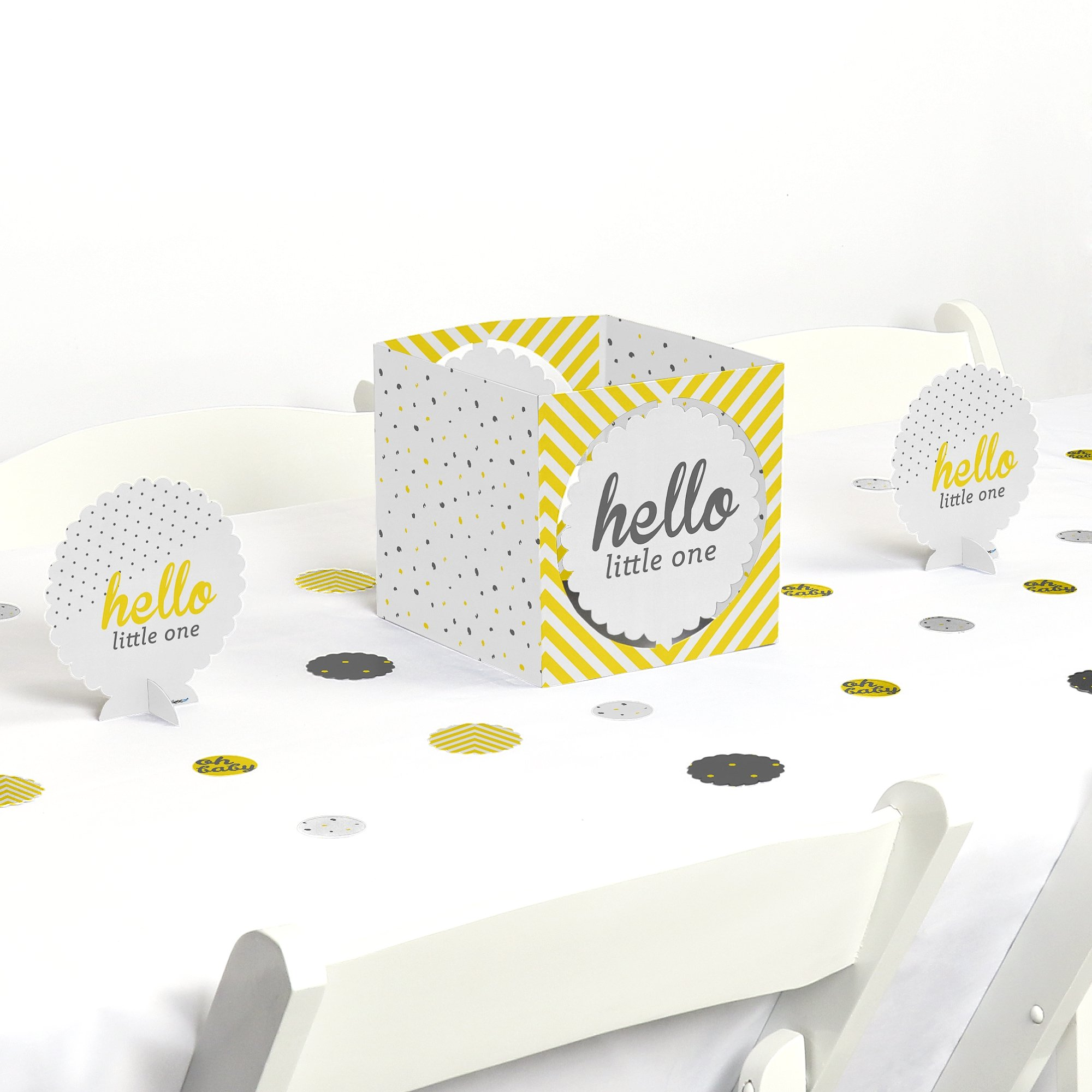 Big Dot of Happiness Hello Little One - Yellow and Gray - Neutral Baby Shower Centerpiece & Table Decoration Kit