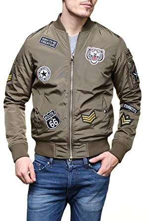 8f2c7dea1c2c Gov Denim - Blouson 165025 Bombers Ecusson Kaki - Couleur Vert - Taille XL