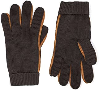 Portolano Men's Brown Wool Gloves with Leather Sidewalls (X-Large)