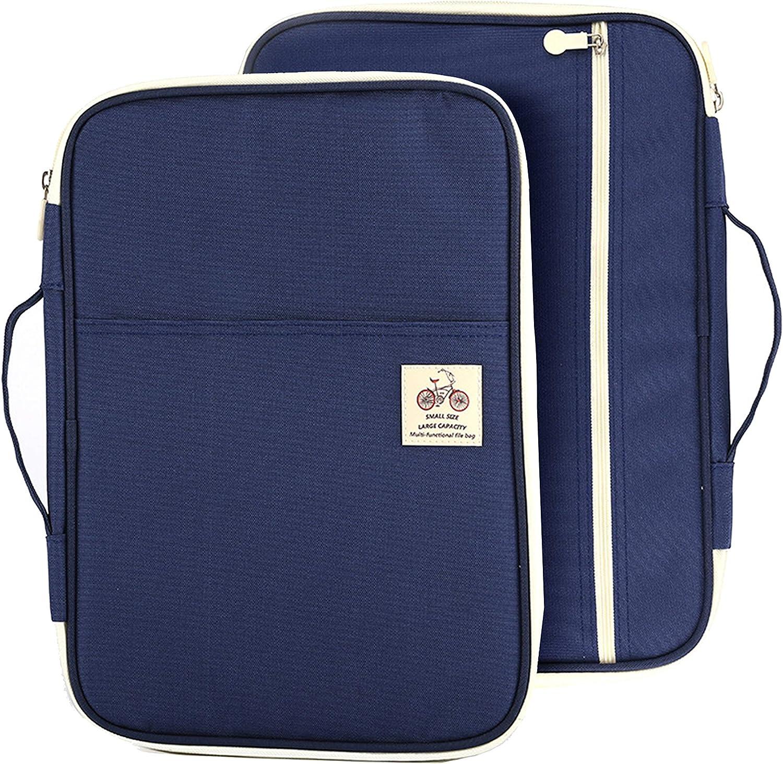 3 Colors A4 Document Bag File Folder Portfolio Organizer Zippered Carry Cases US