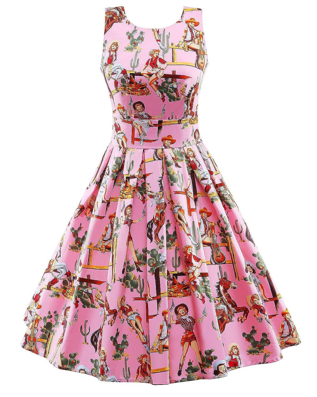 LaoZan Damen Abendkleider Retro Swing-Kleid Gartenparty Kleid ...