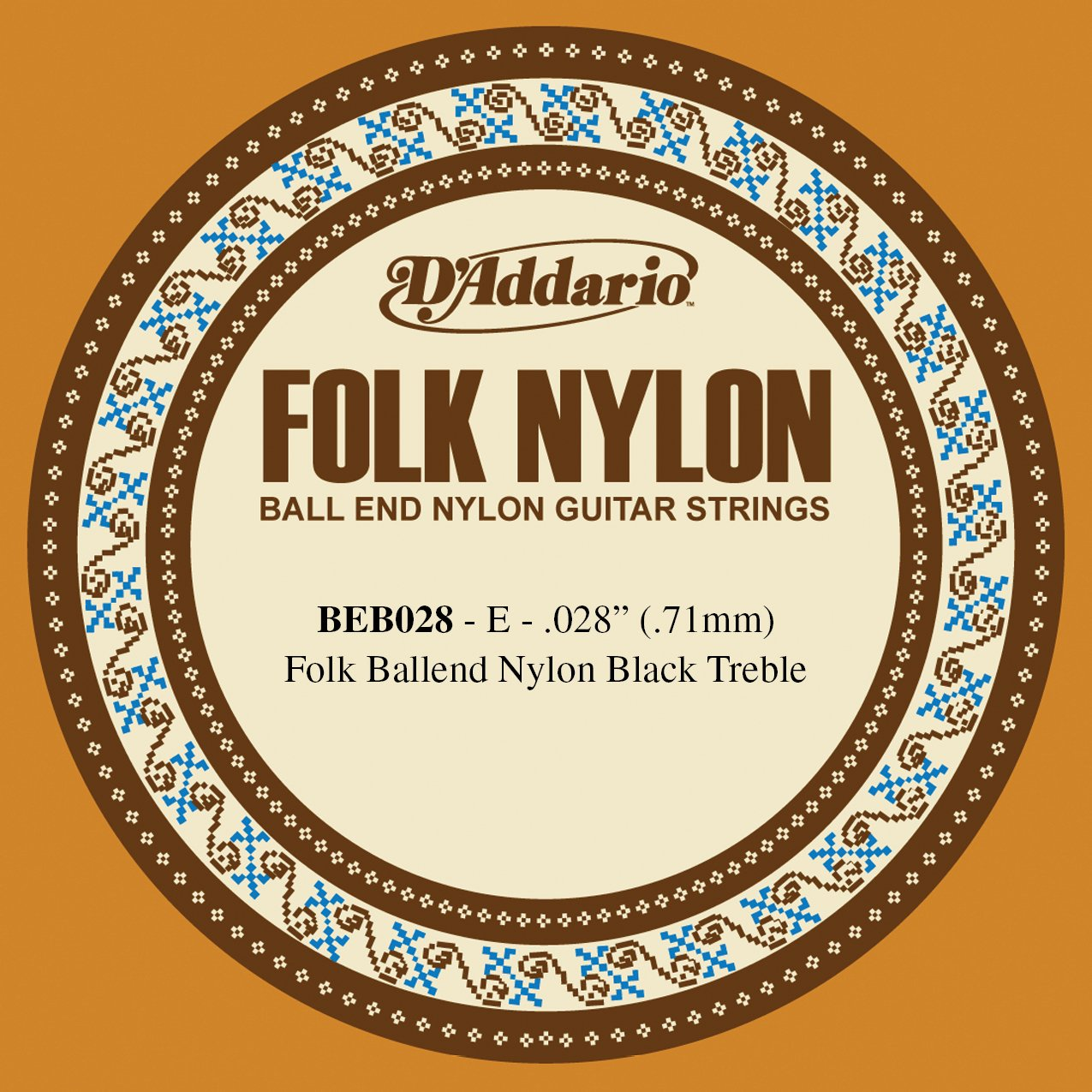 D'Addario BEB028 Folk Nylon Guitar Single String, Black Nylon, Ball End, .028 D' Addario