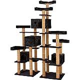 TecTake Arbre á chat avec 6 plateaux d'observation et 4 abris confortables géant centre d'activités 214 cm - diverses couleurs au choix - (Noir | No. 402354)