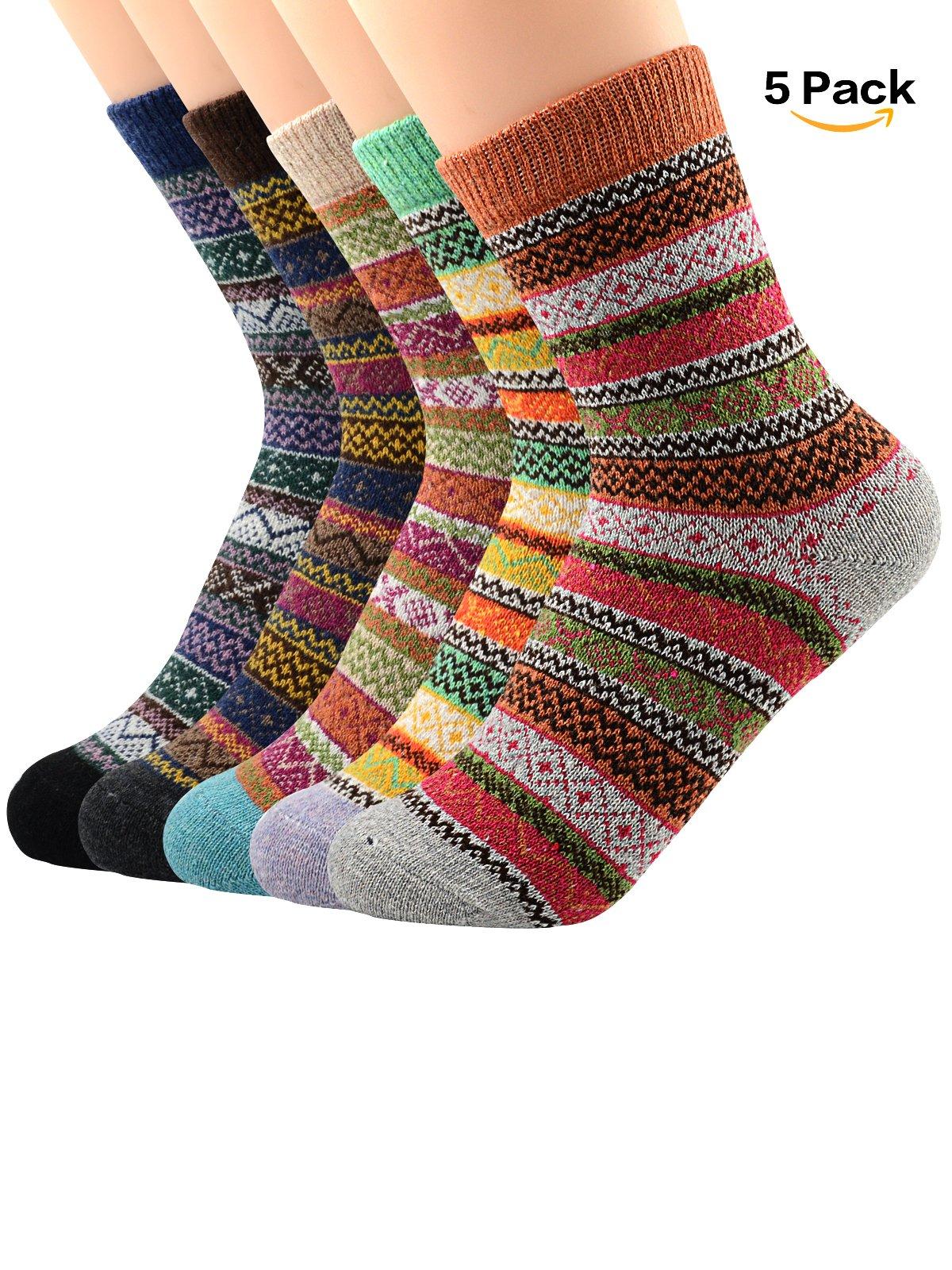 Century Star Women's Vintage Winter Soft Wool Warm Comfort Cozy Crew Socks 5 Pack 5 Pairs Stripes