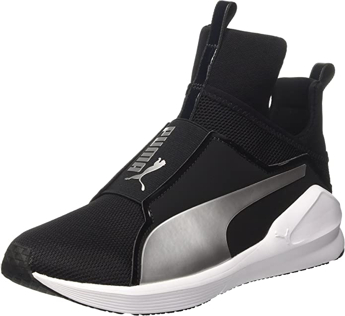 Puma Fierce Core Sneakers Trainingsschuhe Damen Schwarz mit Silber Streifen