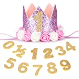 Baby Princess Tiara Crown,Baby Girls/Kids First Birthday Hat Sparkle Gold Flower Style with Artificial Rose Flower