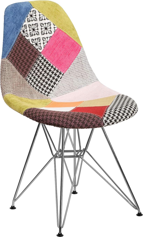 Flash Furniture Elon Series Milan Patchwork Fabric Chair with Chrome Base