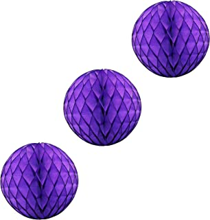 product image for 3-Pack Large 14 Inch Honeycomb Tissue Paper Party Ball Decoration (Purple)
