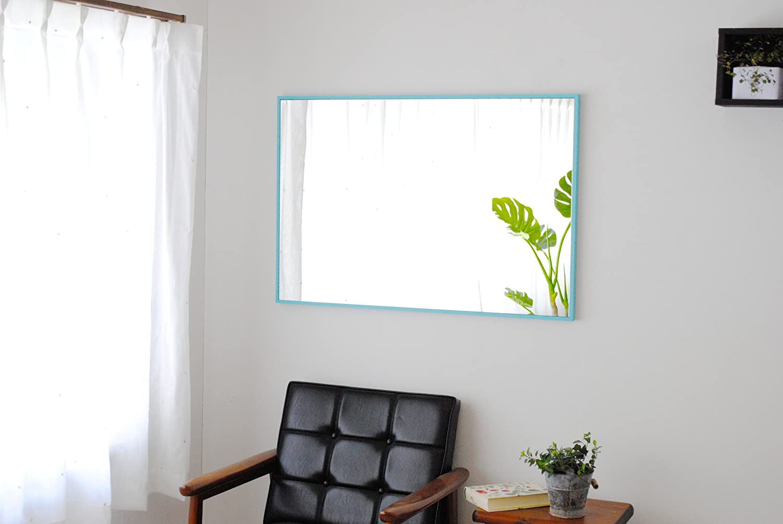 SENNOKI 細枠 全身 鏡 姿見 壁掛け ウォールミラー 長方形 センノキブルー 日本製 62cm×92cm B0716YVP3V センノキブルー センノキブルー
