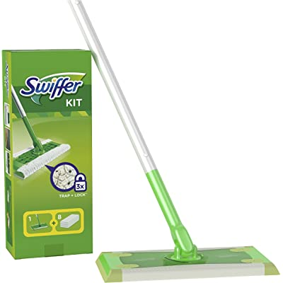 Swiffer Mopa Kit De Inicio Con 1 Mango Y 8 Paños Secos De Recambio, Atrapa Y Retiene El Polvo