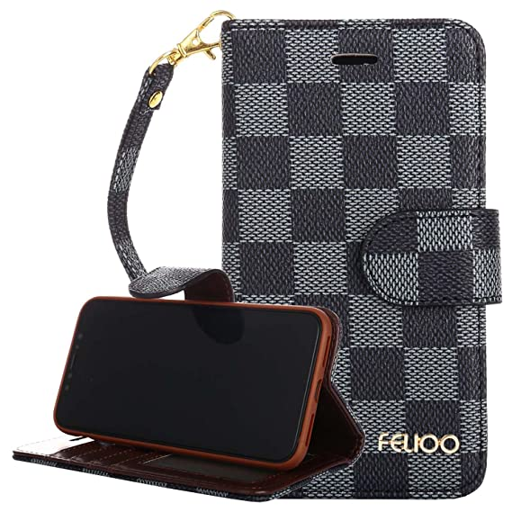 new styles abeea 39aa8 iPhone X Case,GX-LV iPhone X Luxury Classic Plaid Pattern Wrist Strap  Leather Wallet Case Flip Folio Case Cover with Card Slot Holder and Stand  for ...
