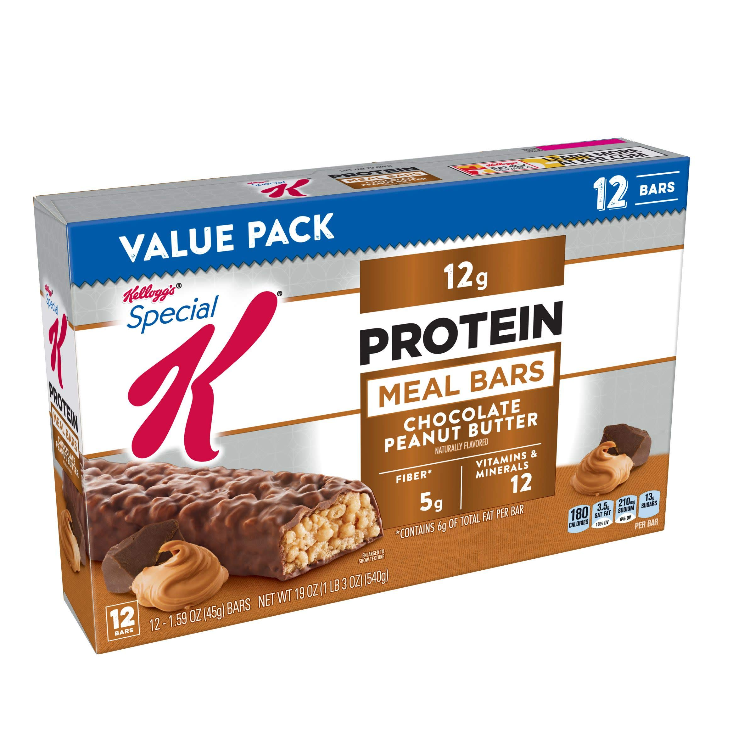 Special K Protein Meal Bars, Chocolate Peanut Butter, 19 oz (12 Count)