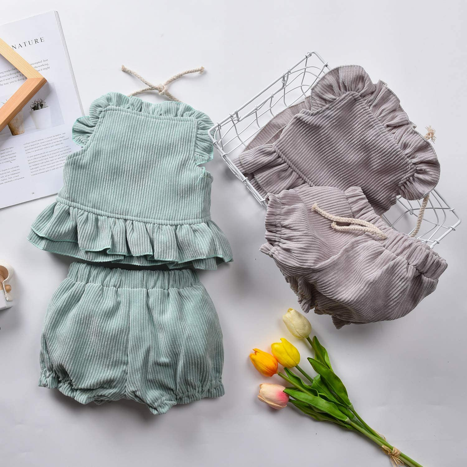 Infant Girls Shorts Clothes Ruffle Corduroy Strap Tops and Bottoms Photography Outfit 2PCS