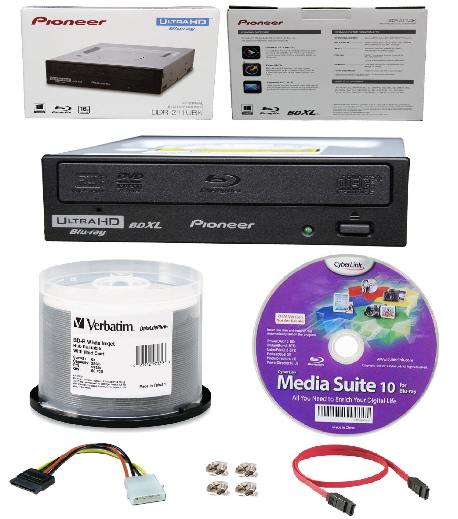 Pioneer 16x BDR-211UBK Internal Ultra HD Blu-ray BDXL Burner, Cyberlink Software and Cable Accessories Bundle with 50pk BD-R Verbatim 25GB 6X DataLifePlus White Inkjet, Hub Printable by Produplicator