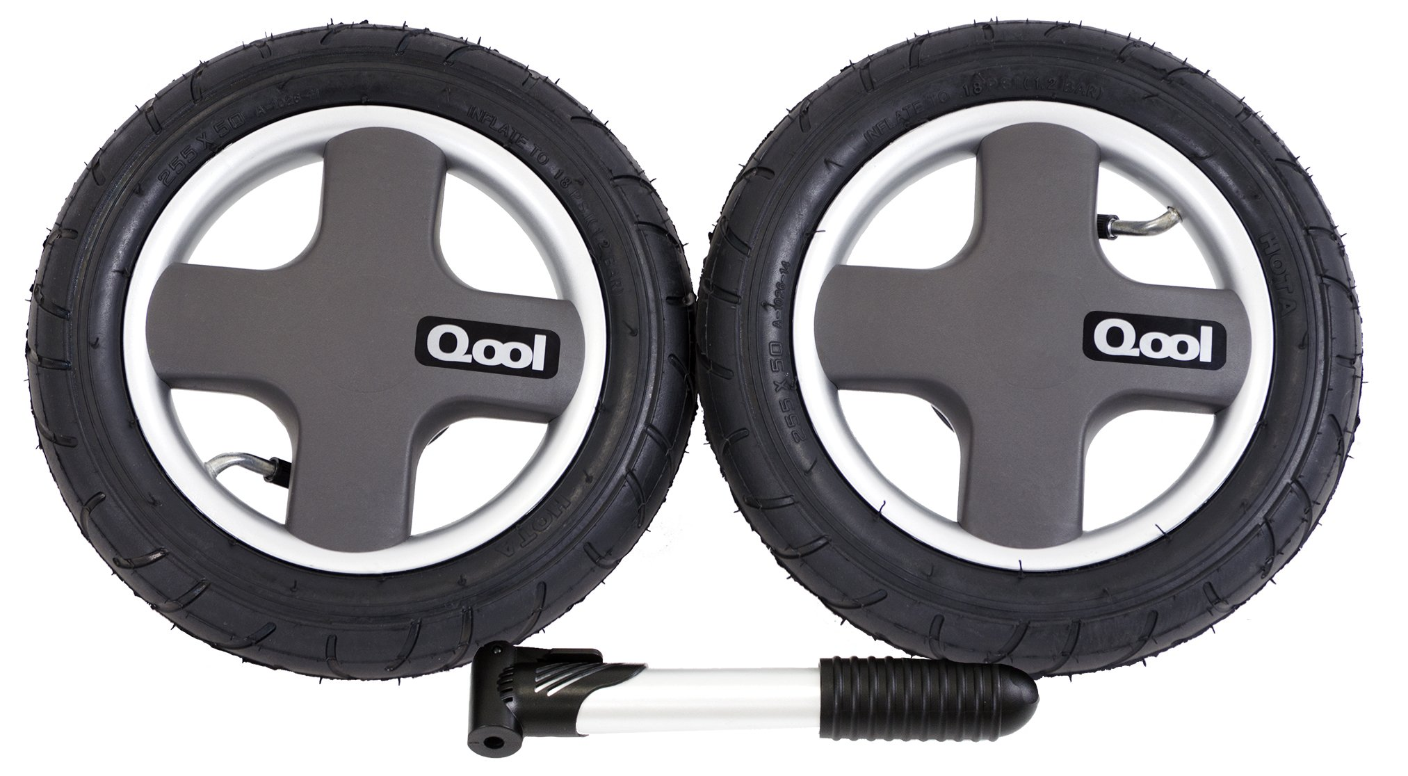 Joovy Qool Pneumatic Rear Wheels and Tire Pump, Black (Discontinued by Manufacturer)