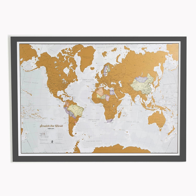 Scratch the World® - Mapa impreso., color Print with black wooden frame: Amazon.es: Oficina y papelería