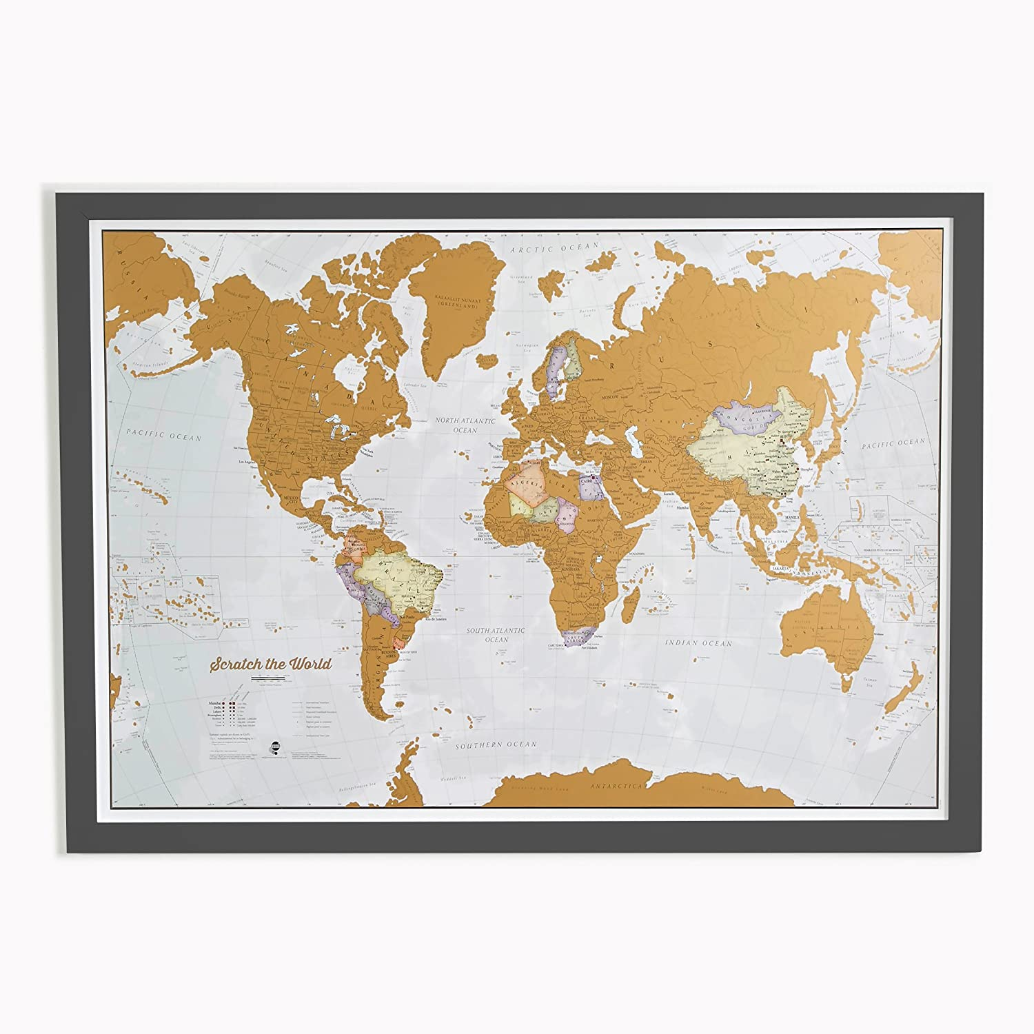 Scratch the World®, mappa del mondo a stampa Print with black wooden frame Maps International