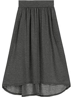 3c09eb5251 Amazon.com: Eleter Girl's Chiffon Skirt Long Skirt Fit S-M (Black ...