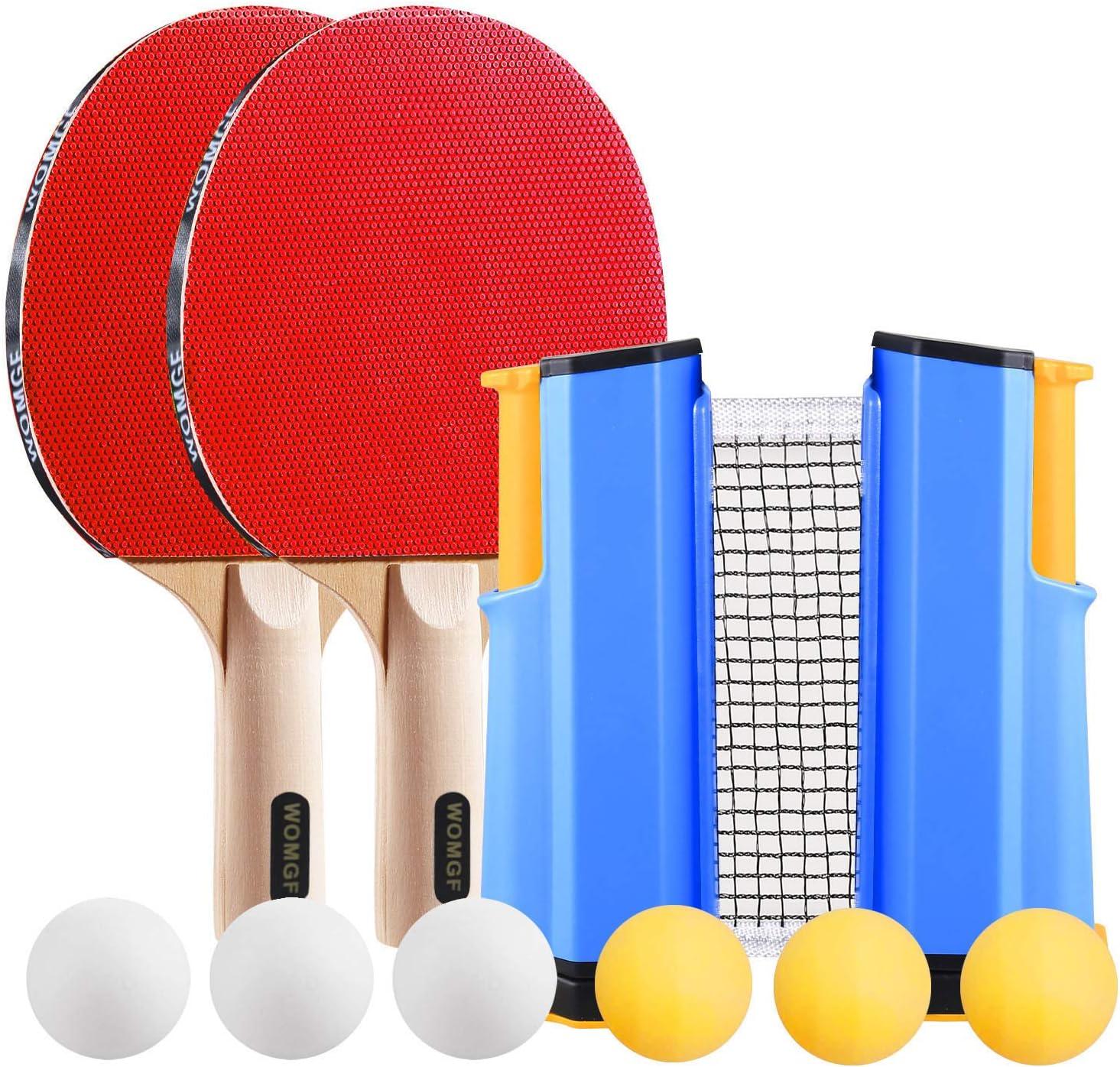 WOMGF Set de Ping Pong Pala y Pelota Profesional, 2 Raquetas y 6 Pelotas, Raquetas de Tenis de Mesa,Palas Tenis de Mesa Ping Pong Profesional,Set de Ping Pong Portátil con Red Retráctil