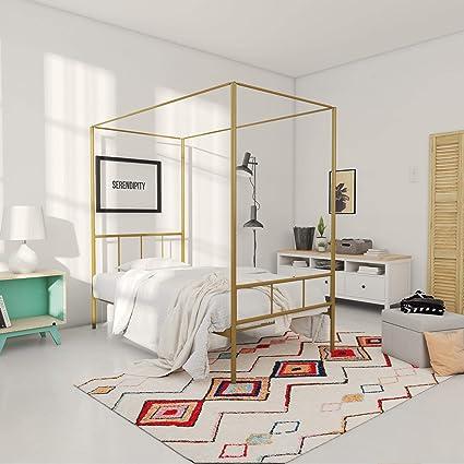 0079e15c2afd Amazon.com: Novogratz Marion Canopy Bed Frame, Gold, Twin: Kitchen & Dining