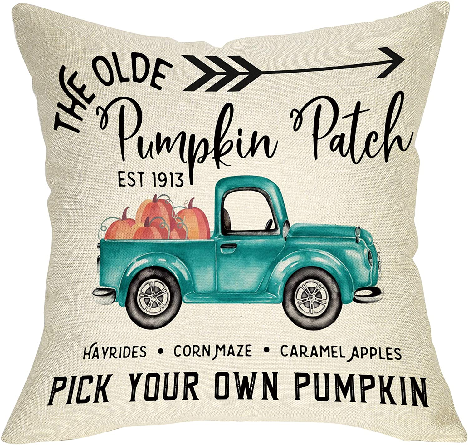 """Softxpp The Olde Pumpkin Patch Decoration Fall Farmhouse Throw Pillow Cover Vintage Truck Sign Thanksgiving Day Autumn Harvest Home Decor Cushion Case Decorative for Sofa Couch 18"""" x 18"""" Cotton Linen"""