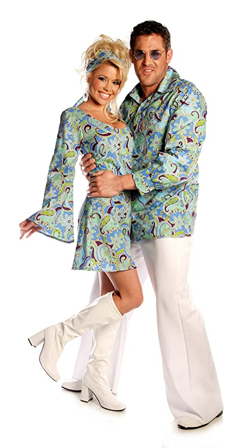 1960s Style Men's Clothing, 70s Men's Fashion Blue Go-Go Girl Adult Costume  AT vintagedancer.com