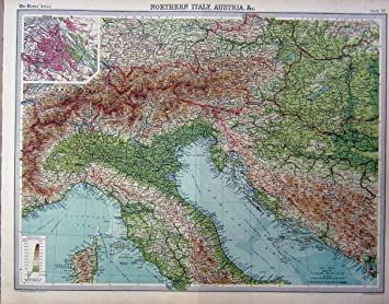 Map Of Northern Italy And Austria.1920 Map Northern Italy Austria Colour Amazon Co Uk Kitchen Home