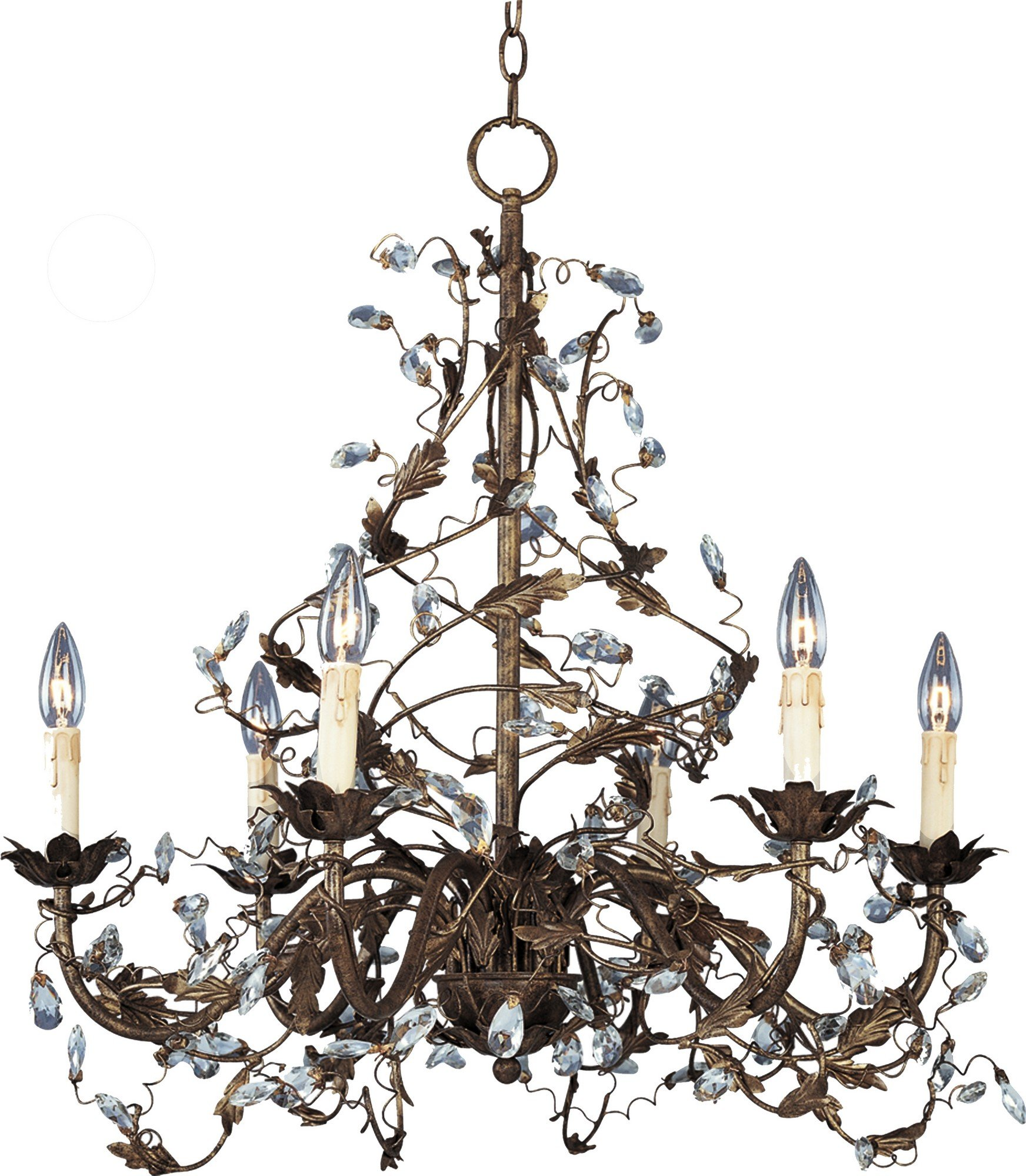 Maxim 2851OI Elegante 6-Light Chandelier, Oil Rubbed Bronze Finish, Glass, CA Incandescent Incandescent Bulb , 60W Max., Dry Safety Rating, Standard Dimmable, Glass Shade Material, 672 Rated Lumens