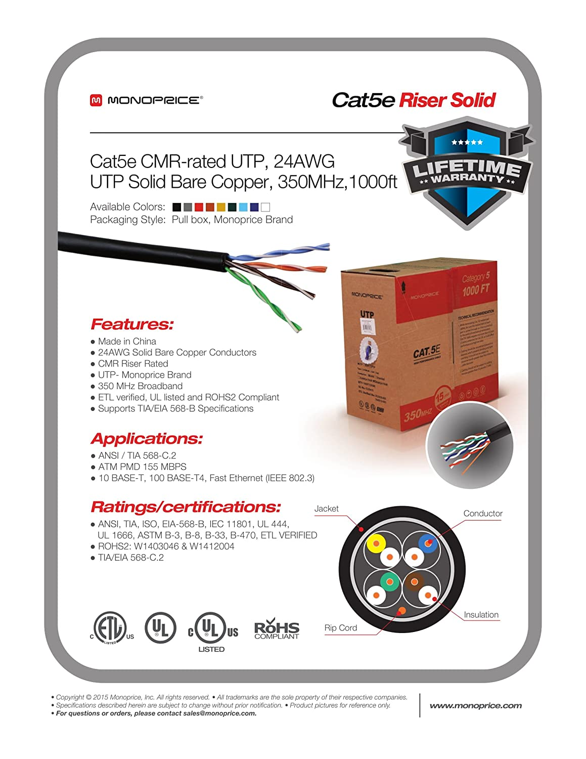 Amazon.com: Monoprice 1000FT 24AWG Cat5e 350MHz UTP Solid, Riser ...