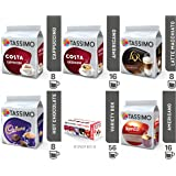 TASSIMO Variety Box Set 56 Cups Drinks Pack T Discs Pods Coffee Latte Cappuccino Americano Cadbury Hot Chocolate