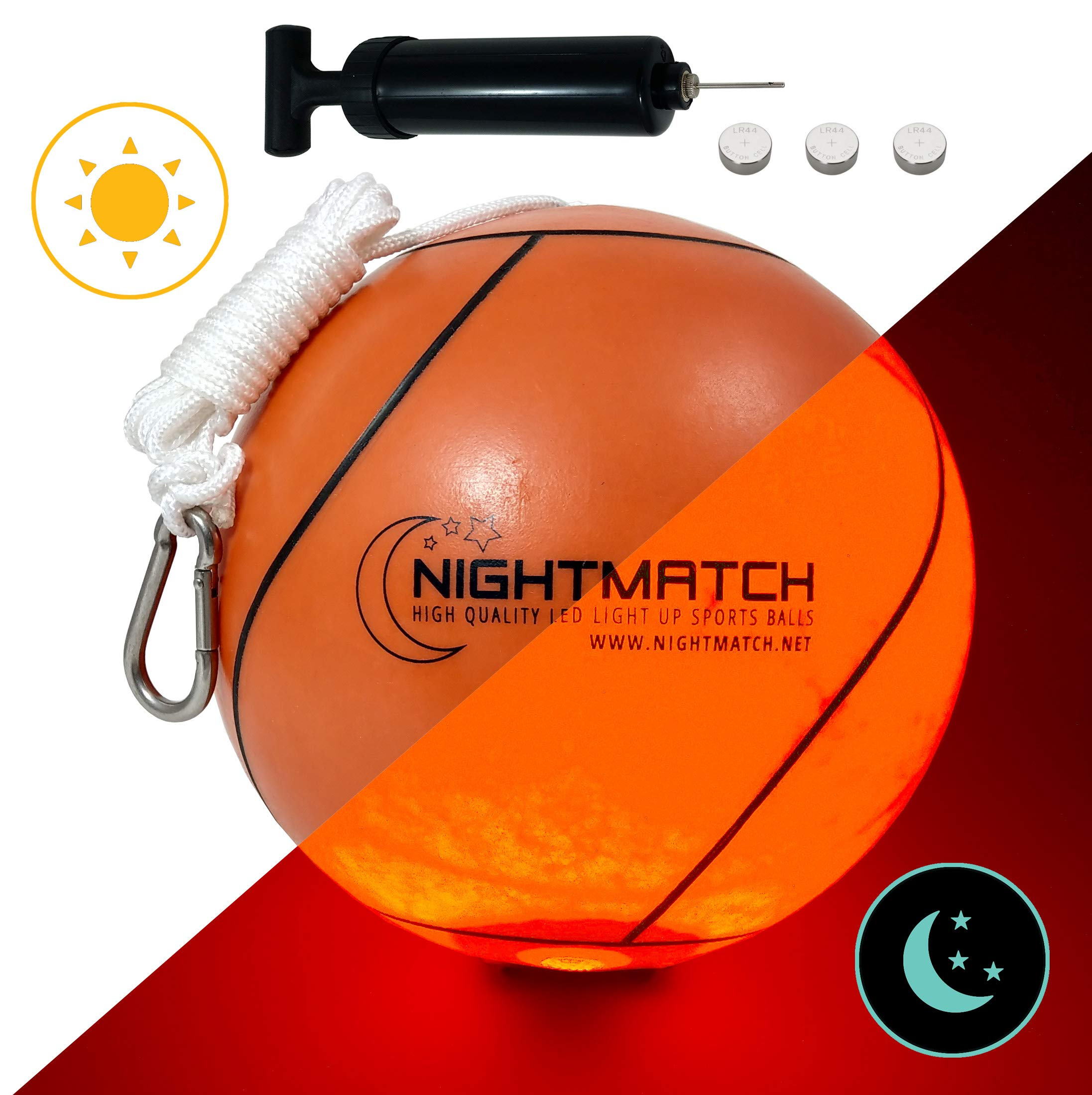 NIGHTMATCH Light Up Tetherball INCL. Ball Pump & Spare Batteries - Inside LED Lights up When Bounced - Glow in The Dark Tetherball - Tether Ball - Official Size & Weight by NIGHTMATCH