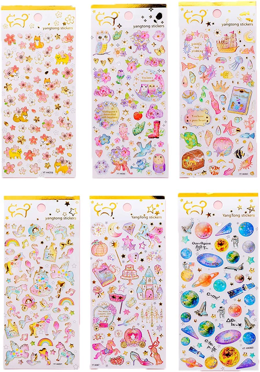 Bling Craft Stickers for Scrapbooking Notebook Phone Case Lirener 6 Sheets 3D Rhinestone Stickers Self-Adhesive Stickers Sheets with Flowers Unicorn and Universe DIY Art Craft Journal Wedding