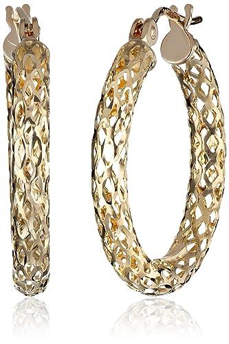 Amazon 14k Yellow Gold Diamond Cut Pierced Tube Hoop Earrings