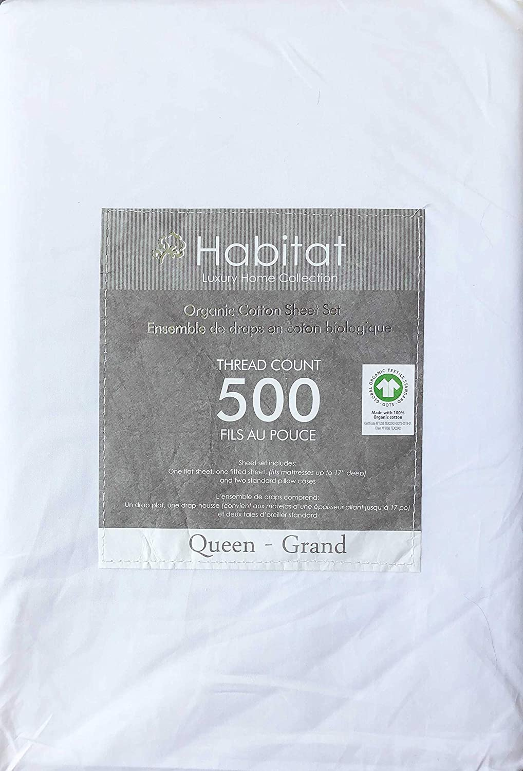 Habitat Organic Cotton Solid Snow White 4pc Queen Sheet Set Luxury Fine Linens 500 Thread Count