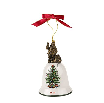 spode christmas tree annual edition ornament santa on bell - Christmas Tree Bell Decoration