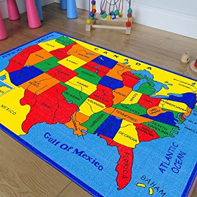 Kids/Classroom/Daycare/Playroom Area Rug. Educational. Fun. USA Map. Fifty States. Oceans. North America. Non-Slip Gel Back. Bright Colorful Vibrant Colors (3 Feet X 5 Feet): Toys & Games