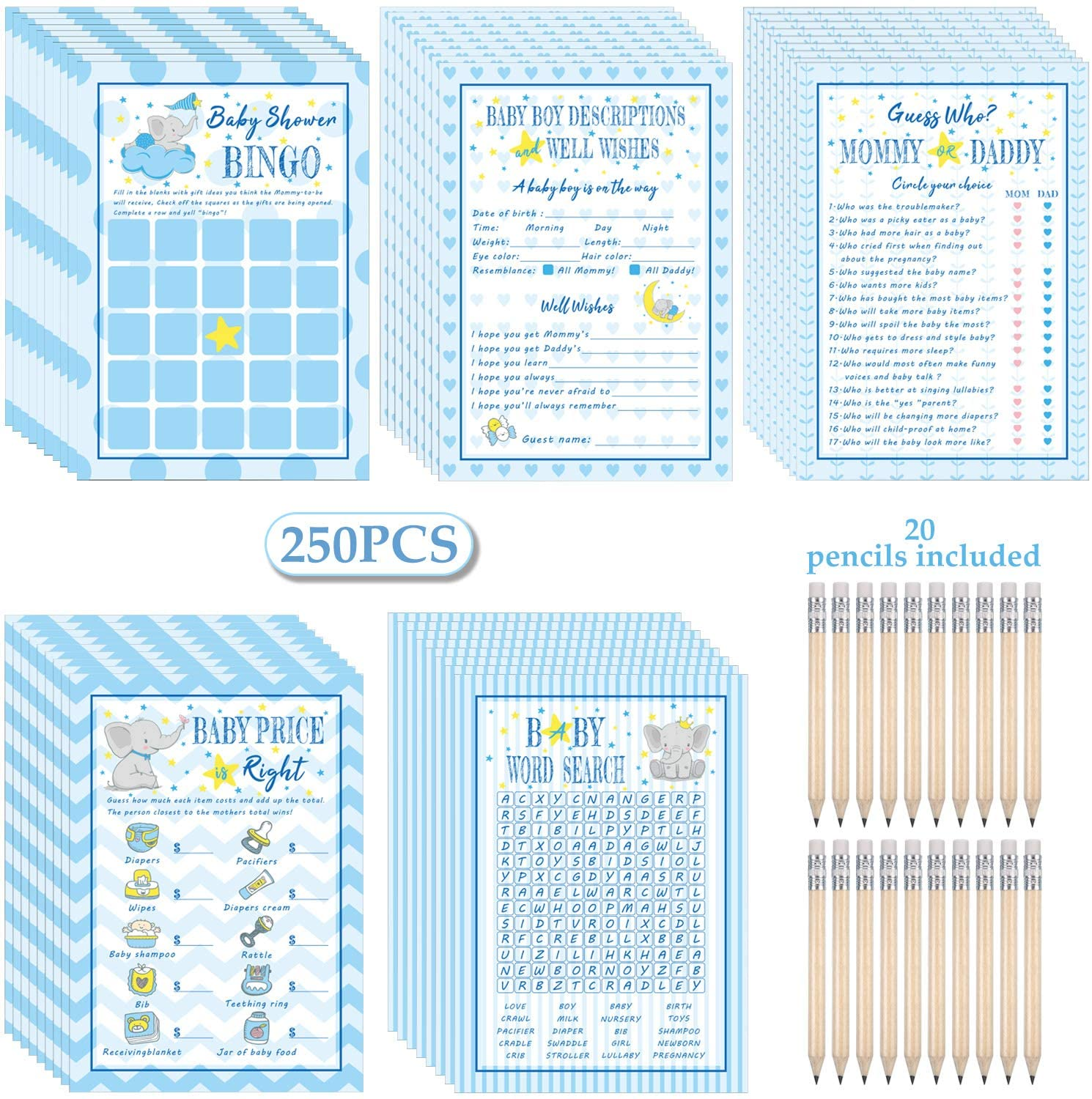Blue half Elephant Theme Baby Shower Max 67% OFF Games 250 Cards C for Boys Pack