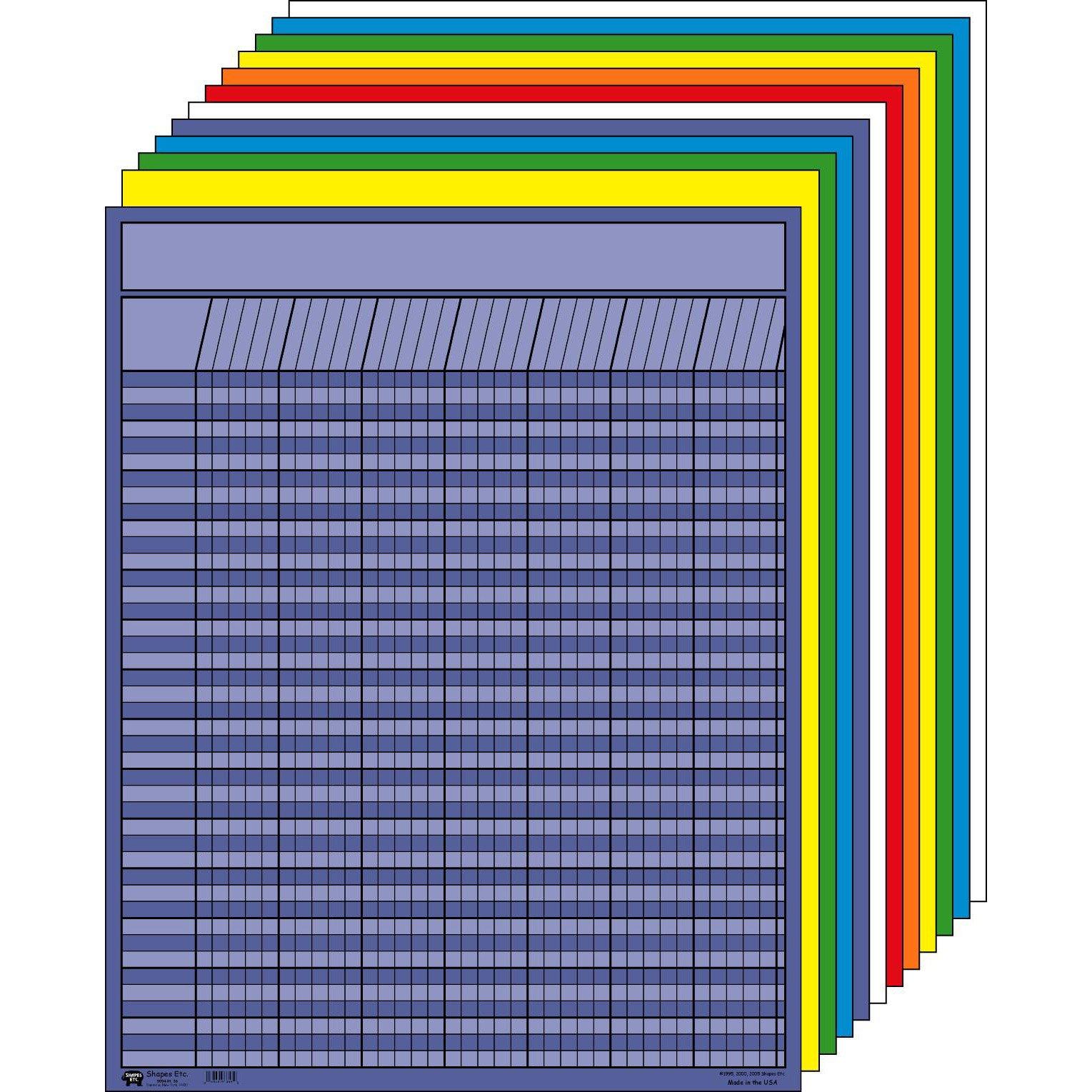 Shapes Etc. SE-365 Vertical Incentive Chart Set, Large, 22'' W x 28'' H, Assorted Color (Pack of 12)