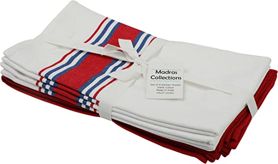 6 Pack, Pre Washed 27x19 Inch Madras Collections Kitchen Towels with Hanging Loop 100/% Pure Cotton Natural Dishcloths Sets Kitchen Dish Cloths Tea Towels Red Navy