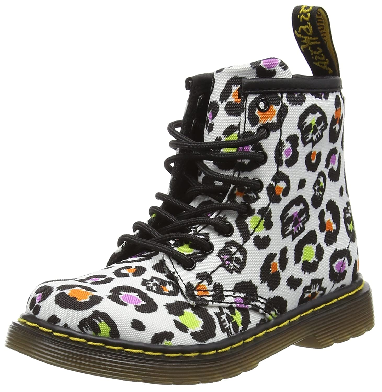 Dr. Martens Brooklee T Canvas WHT Skleopar, Chaussures Bateau Mixte Enfant